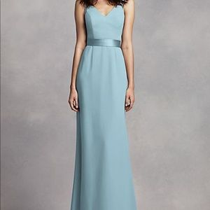 Vera Wang Long V Neck Crepe Gown w/ Open Back